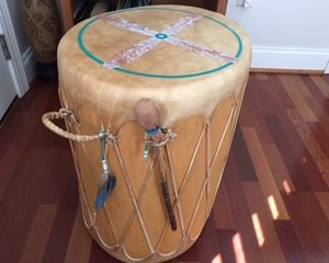Photo of beautiful hand painted drum for silent auction bidding